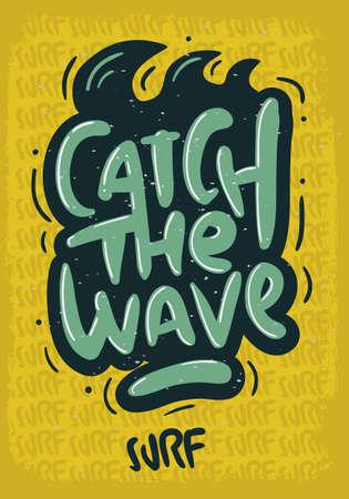 Surfing Surf  Design  Hand Drawn Lettering Type Logo Sign Label for Promotion Ads t shirt or sticker Poster Vector Image Illustration