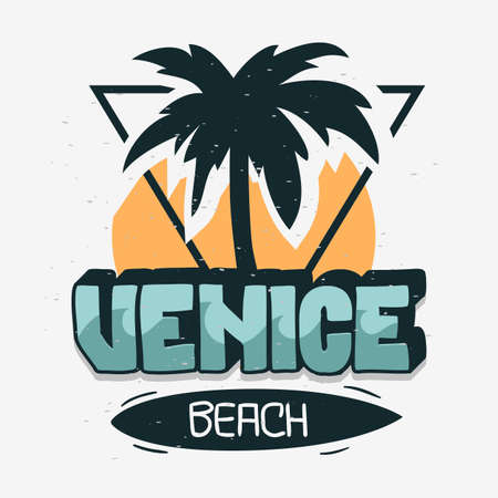 Venice Beach Los Angeles California Palm Tree Label Sign Logo Hand Drawn Lettering Caligrafía moderna para camiseta o pegatina Imagen vectorial Logos