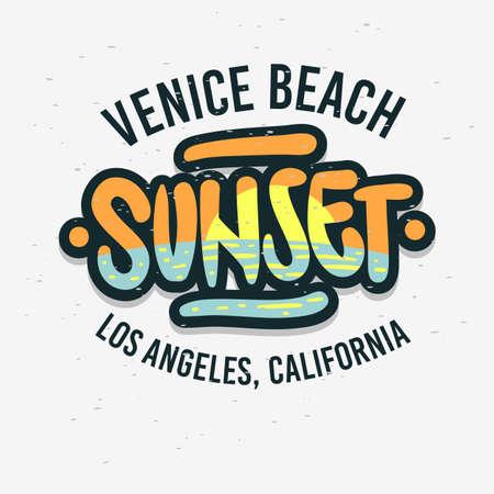 Venice Beach Los Angeles California Sunset Label Sign Logo Hand Drawn Lettering Caligrafía moderna para camiseta o pegatina Imagen vectorial