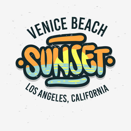 Venice Beach Los Angeles California Sunset Label Sign Logo Hand Drawn Lettering Modern Calligraphy for t shirt or sticker Vector Image