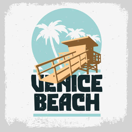 Venice Beach Los Angeles California Lifeguard Tower Station Beach Rescue Palm Trees Logo Sign Label Design For Promotion Ads t shirts Sticker Poster Flyer Vector Graphic