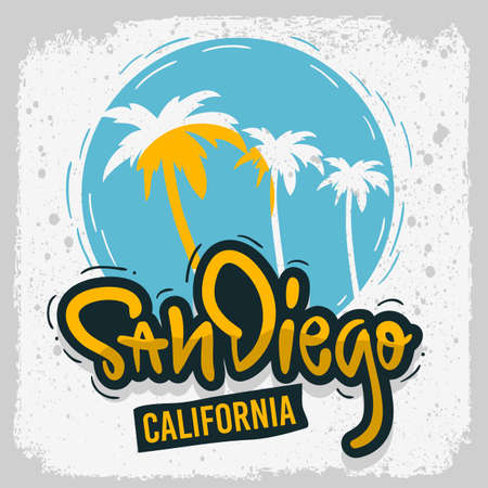 San Diego California Surfing Surf  Design  Hand Drawn Lettering Type Logo Sign Label for Promotion Ads t shirt or sticker Poster Vector Image Ilustração