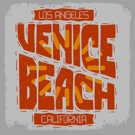 Venice Beach Los Angeles California Vintage Influenced Retro View Design  Hand Drawn Lettering Type Typographic Treatment for t shirt or sticker Vector Image Stock Photo