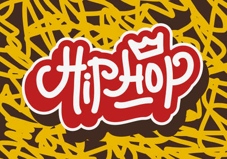 Hip Hop Tag Graffiti Style Label Lettering. Vector Image.