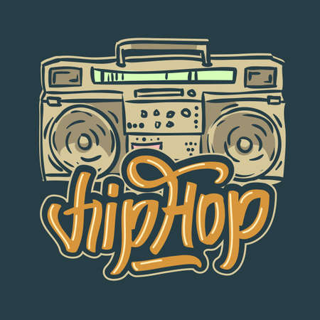Hip Hop Design With A Hand Drawn Boombox Ghetto Blaster . Vector Image. Stock Photo