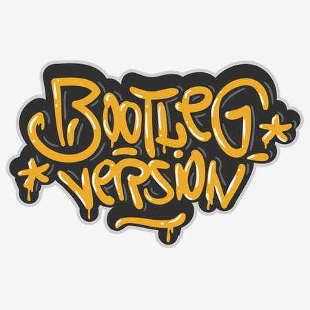 Bootleg Version Hip Hop Related Tag Graffiti Influenced Label Sign  Logo Lettering for t-shirt or sticker on a white background. Vector Image.