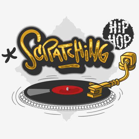 Rayar la etiqueta relacionada con el hip hop Diseño influenciado por graffiti con un plato giratorio para camiseta o pegatina sobre un fondo blanco. Imagen vectorial. Foto de archivo