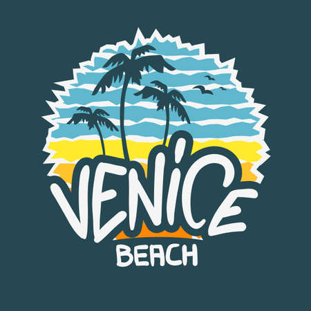 Venice Beach Los Angeles California  Label Sign  Logo Hand Drawn Lettering Modern Calligraphy for t shirt or sticker Vector Image