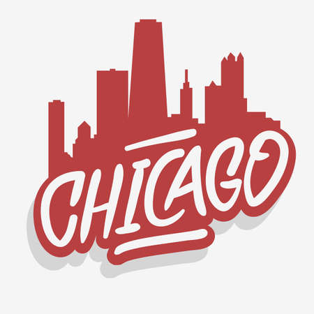 Chicago Illinois Usa Cityscape City Skyline Urban Label Sign  Logo  for t shirt or sticker Vector Image