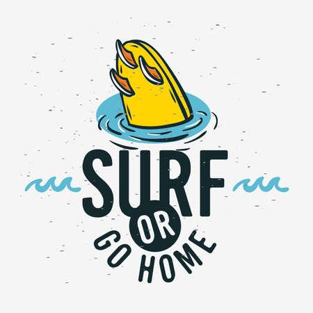 Surfing Surf  Sign Label for Promotion Ads t shirt or sticker Poster Flyer Design Vector Image.