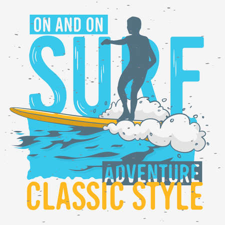 Surfing Surf Themed Graphics for Promotion Ads t shirt or sticker Poster Flyer Design Vector Image.