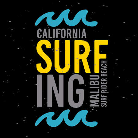 Malibu Surf Rider Beach California Surfing Surf Typographic Type  Design  Sign Label for Promotion Ads t shirt or sticker Poster Flyer Vector Image.