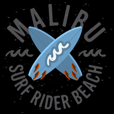 Malibu Surf Rider Beach California Surfing Surf Design  Logo Sign Label for Promotion Ads t shirt or sticker Poster Flyer Vector Image.