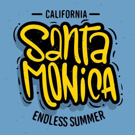 Santa Monica California Design  Logo Sign Label for Promotion Ads t shirt or sticker Poster Flyer Vector Image.