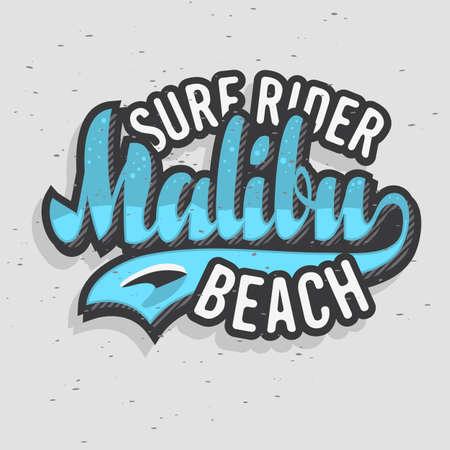 Malibu Surf Rider Beach California Surfing Surf Design  Logo Sign Label for Promotion Ads t shirt or sticker Poster Flyer Vector Image.