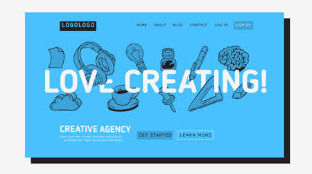 Creative Agency Office Landing Page Example Mockup Design For Web With Artistic Hand Drawn Line Art Drawings Illustrations Of Essential Related Objects Of Every Day Working Tools. Vector Graphic  イラスト・ベクター素材
