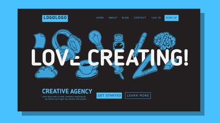 Creative Agency Office Landing Page Example Mockup Design For Web With Artistic Hand Drawn Line Art Drawings Illustrations Of Essential Related Objects Of Every Day Working Tools. Vector Graphic Illustration