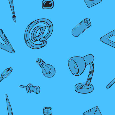 Creative Agency Office Seamless Pattern Design With Artistic Hand Drawn Sketchy Line Art Drawings Illustrations Of Essential Related Objects Of Every Day Working Things And Tools. Vector Graphic