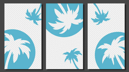 Social Media Stories Templates With Palm Trees Vector Graphic.