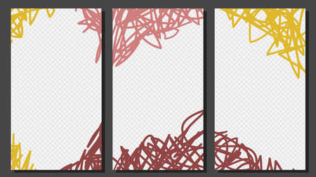 Hand Drawn Social Media Stories templates Scratching Scrambling Doodling Style Vector Graphic.  イラスト・ベクター素材