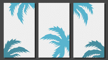 Social Media Stories Templates With Palm Leaves Vector Graphic.