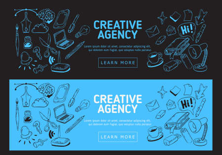 Creative Agency Office Web Banner Design With Artistic Cartoon Hand Drawn Sketchy Line Art Drawings Illustrations Of Essential Related Objects Of Every Day Working Things And Tools. Vector Graphic Illustration