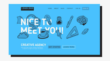 Creative Agency Office Landing Page Example Design For Web With Artistic Hand Drawn Sketchy Line Art Drawings Illustrations Of Essential Related Objects Of Every Day Working Tools. Vector Graphic