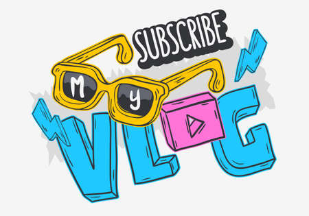 Vlog Video Blog Social Media Cartoon Style Design Subscribe My Blog Call To Action Vector Graphic Ilustração