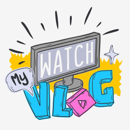 Vlog Video Blog Social Media Cartoon Style Design Watch My Vlog Call To Action Vector Graphic Stock Photo