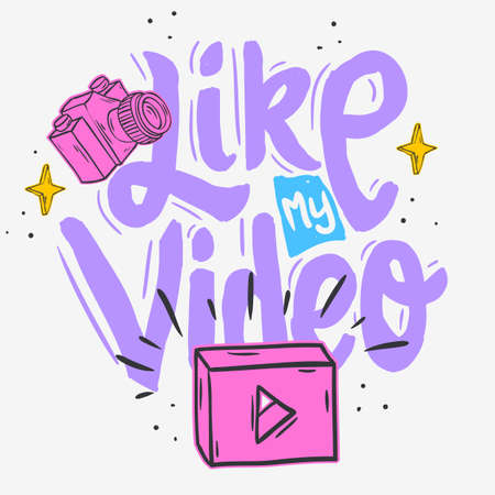 Vlog Video Blog Social Media Cartoon Style Design Like My Video Call To Action Vector Graphic. Illustration