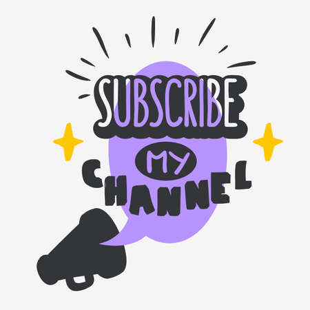Vlog Video Blog Related Social Media Themed Cartoon Style Design Subscribe My Channel Call To Action Vector Graphic.  イラスト・ベクター素材