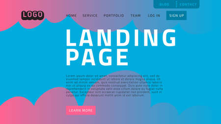 Desktop Landing Page For Web Website Template Design Example Front End Vector Graphic.  イラスト・ベクター素材