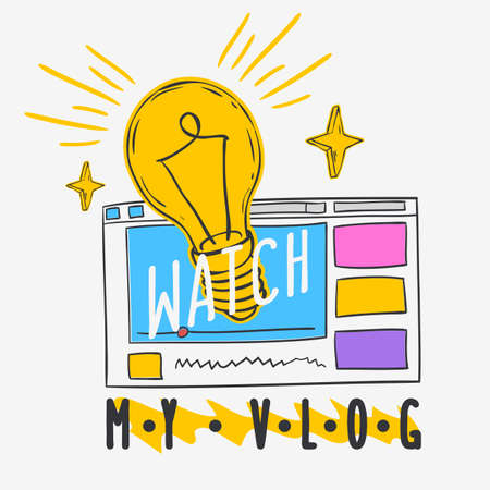 Vlog Video Blog Social Media Cartoon Style Design Watch My Vlog Call To Action Vector Graphic.  イラスト・ベクター素材
