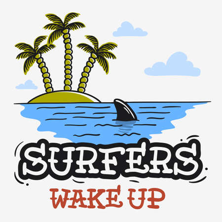 Surfing Surf Themed With Shark Fin And An Island With Palm Trees Hand Drawn Traditional Old School Tattoo Aesthetic Flesh Body Art Influenced  Drawing Vintage Inspired Illustration   Vector Image