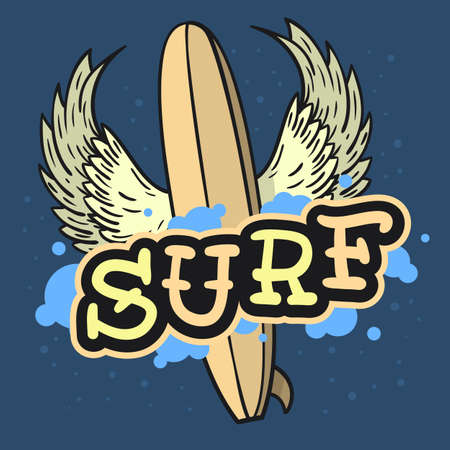 Surfing Surf Themed Longboard With Wings Hand Drawn Traditional Old School Tattoo Aesthetic Flesh Body Art Influenced  Drawing Vintage Inspired Illustration  T Shirt Print  Vector Image