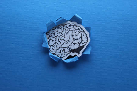 Human Brain Pass Through A Paper Hand Drawn Inked Paper Cutted Art
