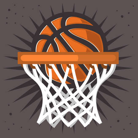 Basketball Hoop And A Ball Design Vector Graphic.