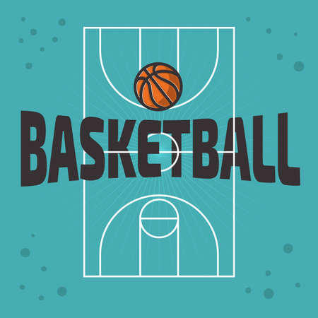 Basketball Themed Design With Basketball Court And A Ball Vector Graphic.  イラスト・ベクター素材