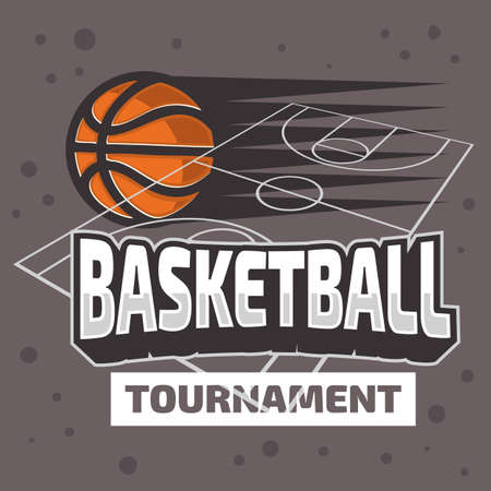 Basketball Themed Design With Basketball Court And A Ball Vector Graphic. Illustration