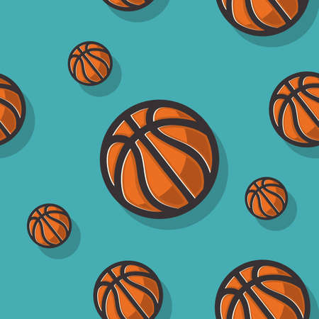 Basketball Themed Seamless Pattern With Basketball Balls Vector Graphic.