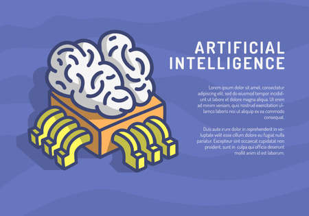 Artificial Intelligence Themed Design Hand Drawn Cartoon Funny Illustration With Computer Cpu Processor Chip And Human Brain Concept Vector Graphic Place For Text Message.