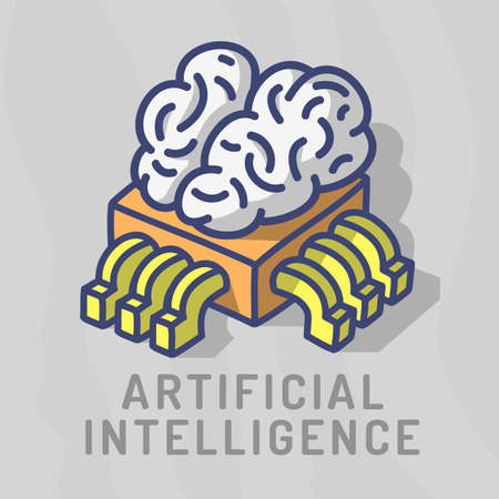Artificial Intelligence Themed Design Hand Drawn Cartoon Funny Illustration With Computer Cpu Processor Chip And Human Brain Concept Vector Graphic.