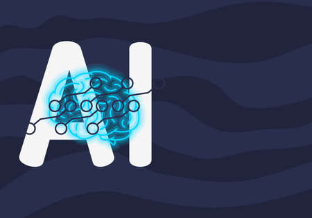 Artificial Intelligence Themed Neon Light Design Concept Illustration Vector Graphic.