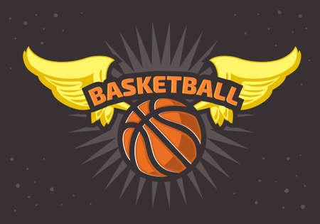 Basketball Themed T Shirt Print Design Basketball Ball And Wings Vector Graphic.