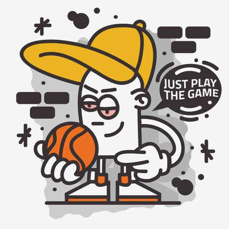 Basketball Themed Street Art Graffiti Aesthetic Cartoon Mascot Character T Shirt Print Design Vector Graphic.