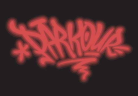 Parkour Brush Lettering Type Design Graffiti Tag Style Glow Light Effect Vector Graphic.