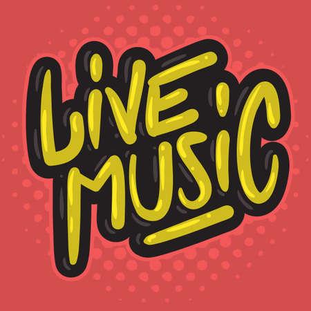 Live Music Concert Dj Set Party Related Hand Drawn Brush Lettering Calligraphy Type Design Vector Graphic. Illustration