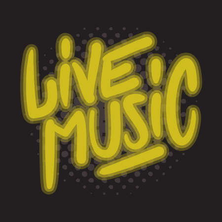 Live Music Concert Dj Set Party Related Hand Drawn Brush Lettering Calligraphy Type Design Vector Graphic.  イラスト・ベクター素材