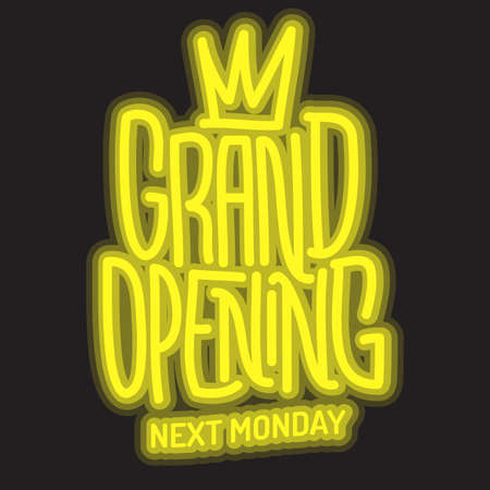 Grand Opening Lettering Type Design Message Glow Light Vector Graphic.