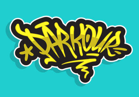 Parkour Brush Lettering Type Design Graffiti Tag Style Vector Graphic.